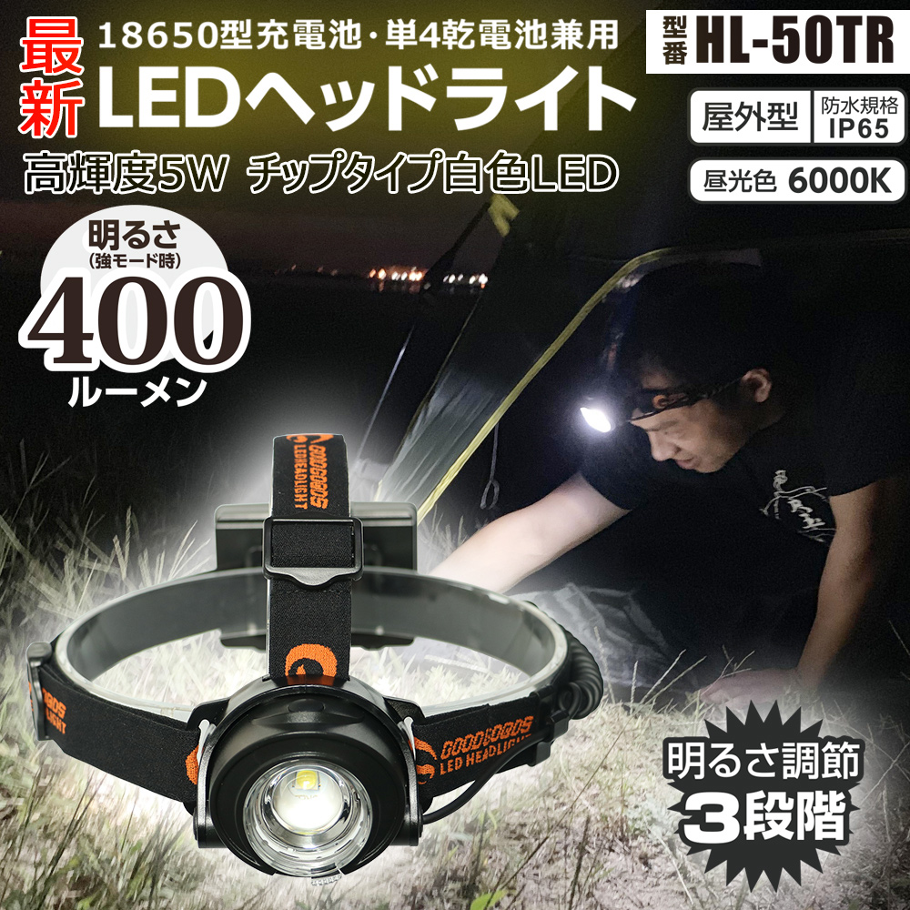 LEDヘッドライト 5W 作業灯 乾電池&充電池兼用