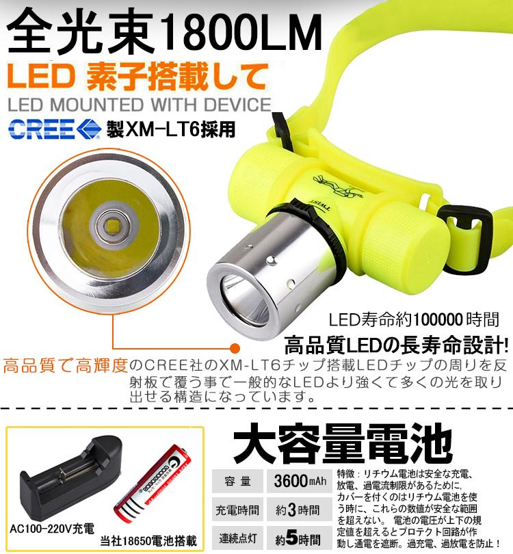 LEDダイビングライト 防水ヘッドライト CREE製XM-LT6 LED水中ライト
