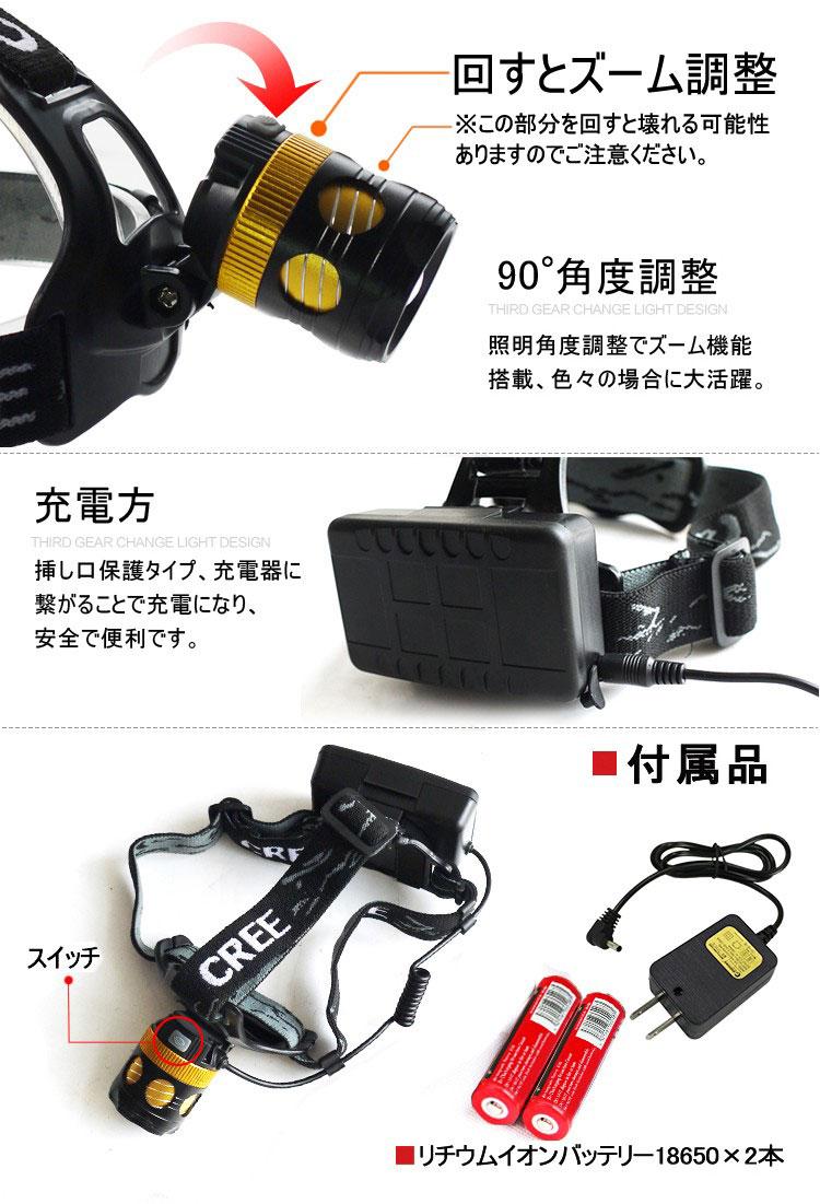 ズームヘッドライト 3モード 1800LM 充電式 角度調整可