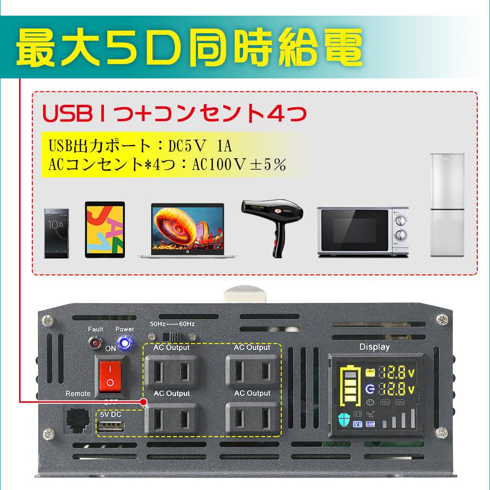 コンセント4つ+USB1つ 最大5口同時給電