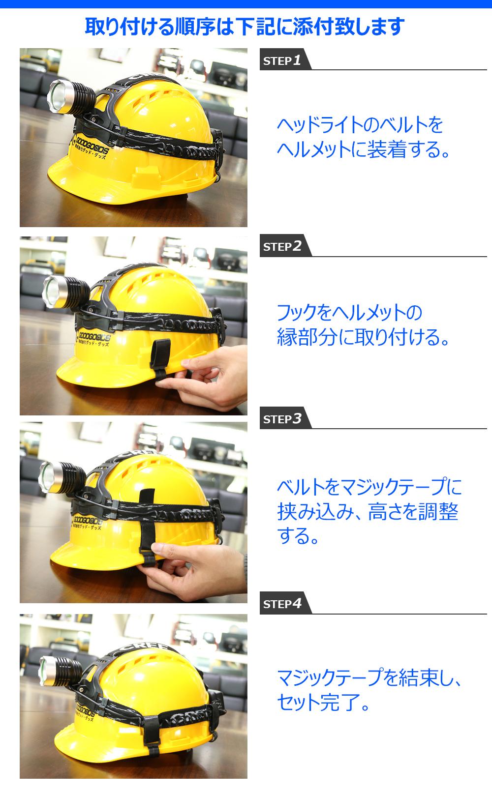 ヘルメットホルダー  LEDヘッドライト用 4個入り 固定バンド バンドホルダー  安全帽適用 バンド固定用 バンド調節可能