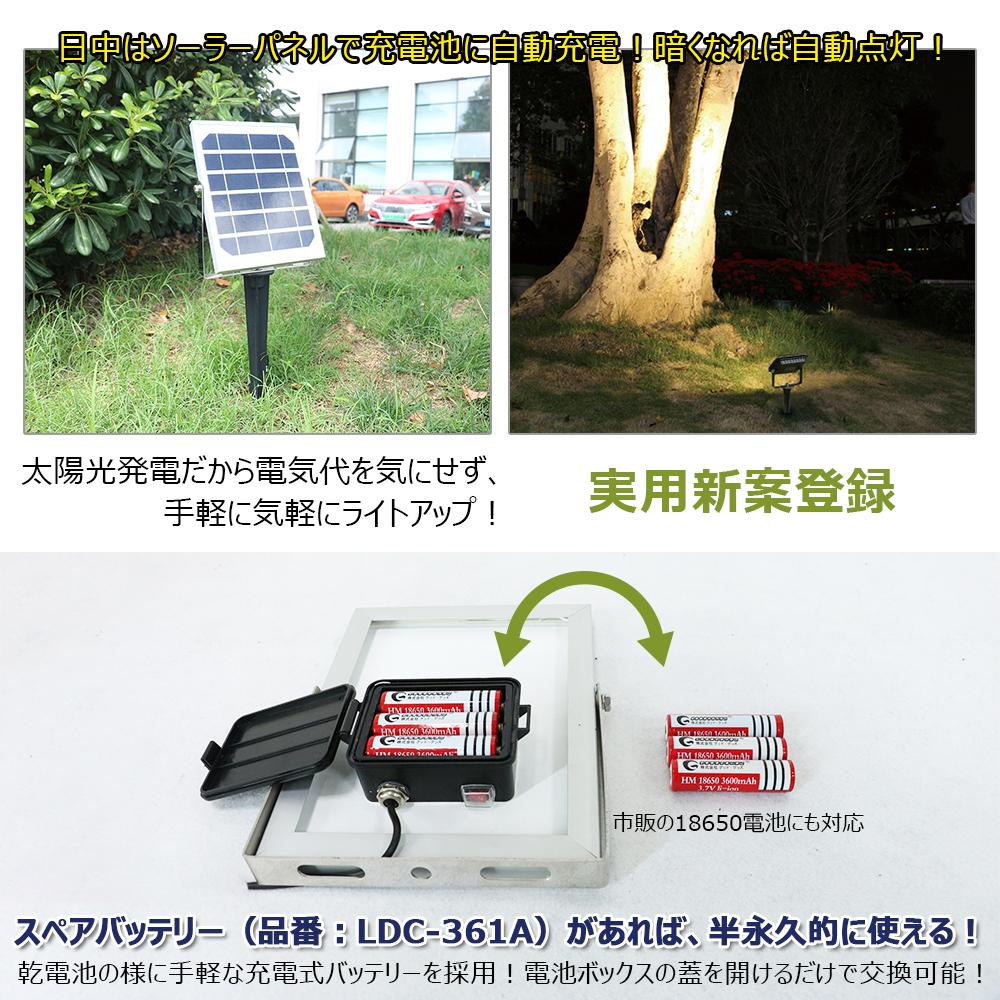 LED ソーラーライト 電池交換式 10W 太陽光充電 光感知式 軽量 自動点灯・消灯  庭苑ライト
