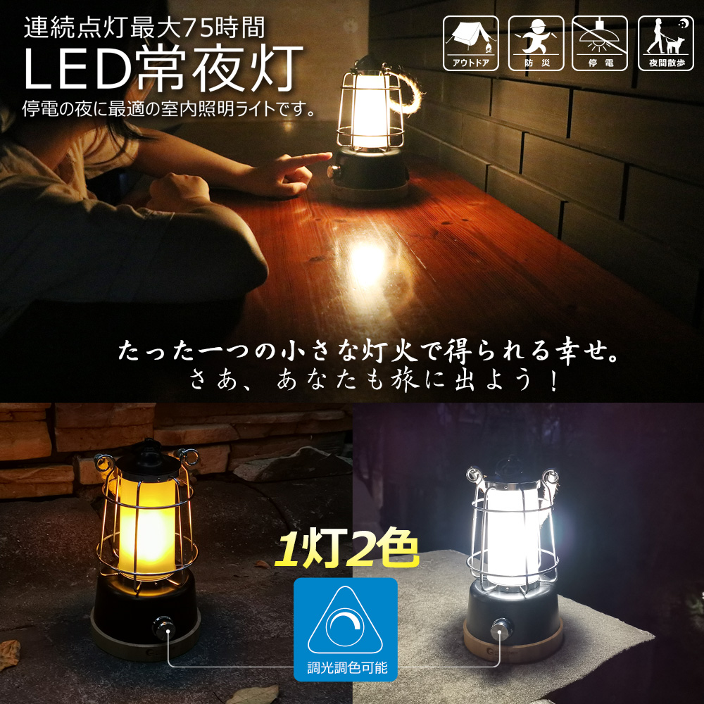最大の明るさ400ルーメンなら5時間、最小10ルーメンなら75時間以上点灯します。