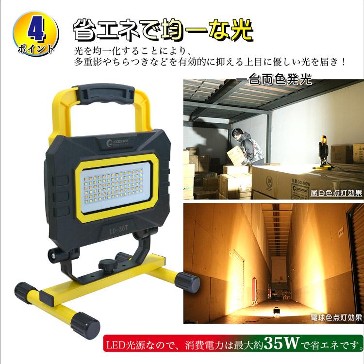 軽量でハンドル付き 工事照明に便利 移動式