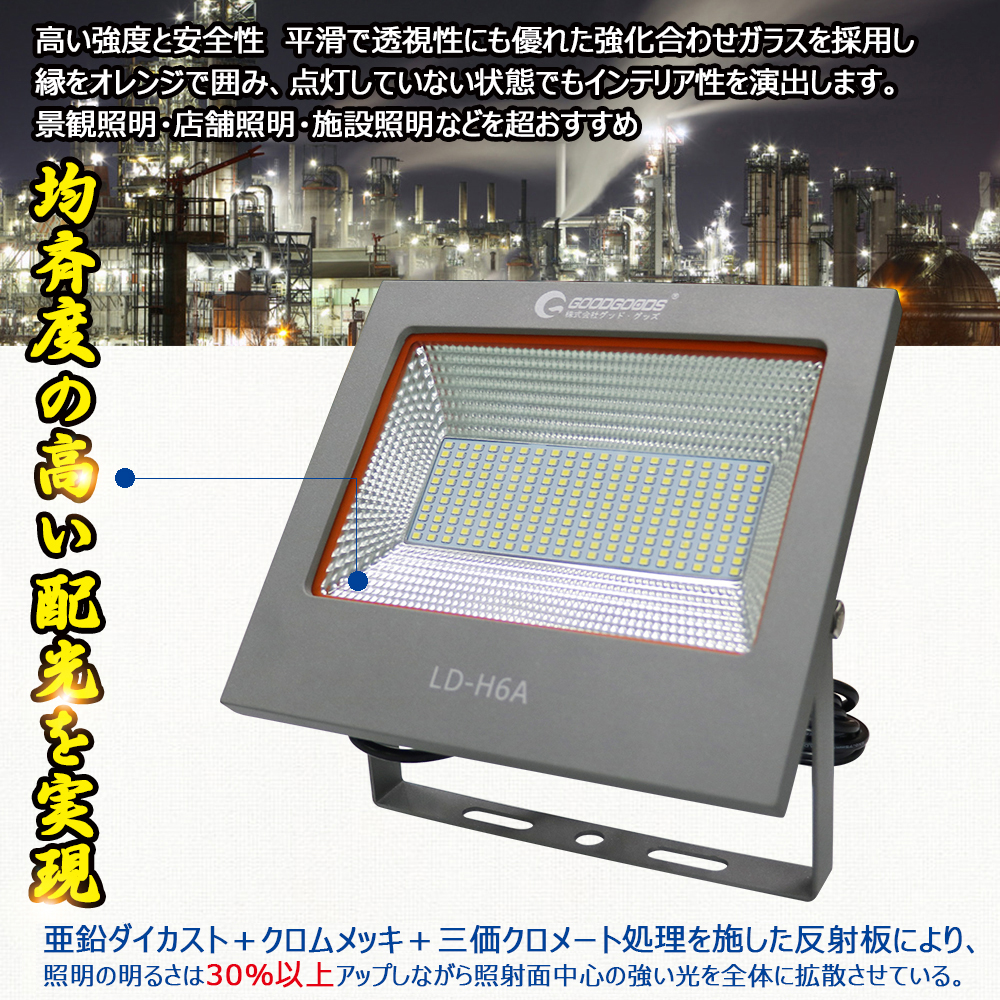 LED 投光器 100W 軽量  小型  作業灯 屋外 広角120° 室内照明 ワークライト 看板灯 夜間作業