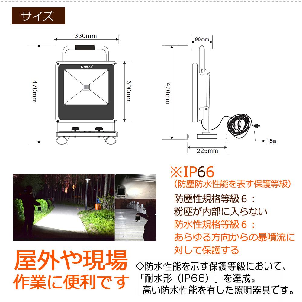 LEDポータブル投光器 50W 作業灯 超薄型 500W相当 投光器 5500LM