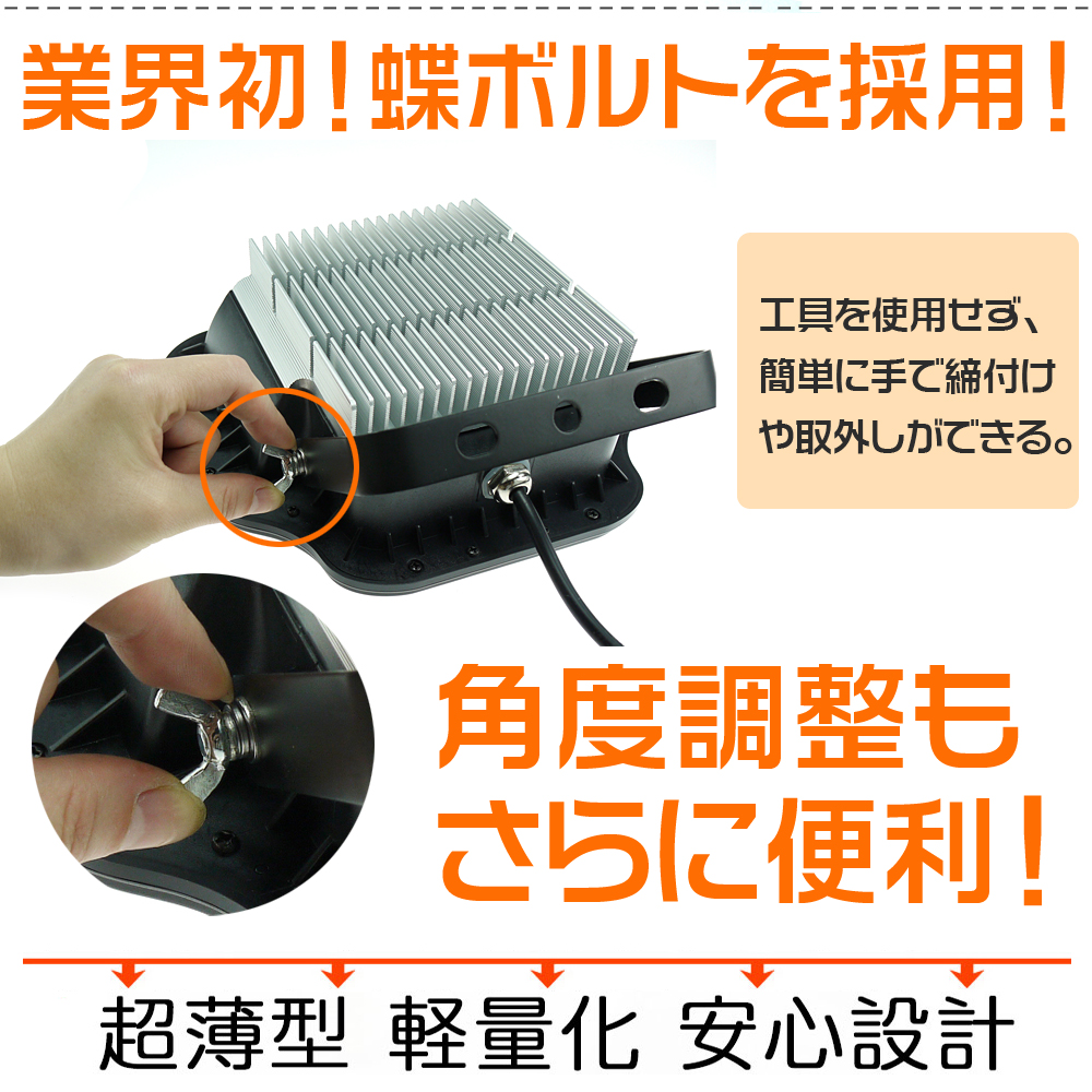 20W LED 投光器 極薄型 200W相当 2200LM AC100V