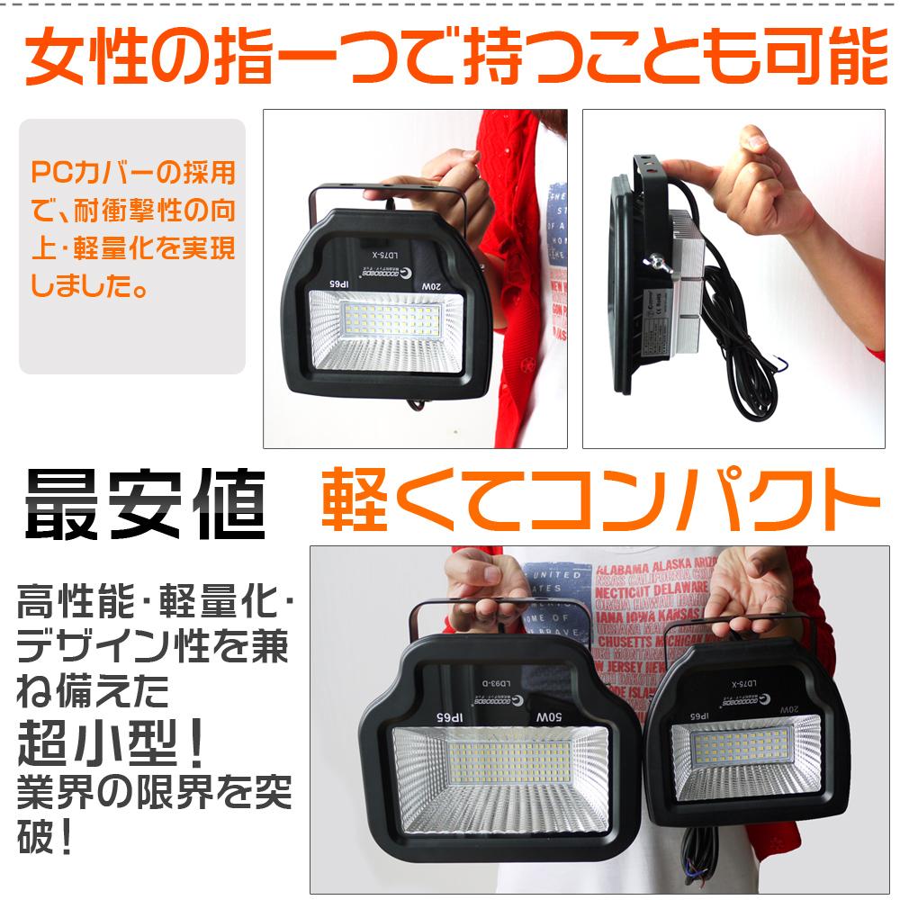 LED投光器50W 超爆光 500W相当 5500LM 投光機 センサーライト